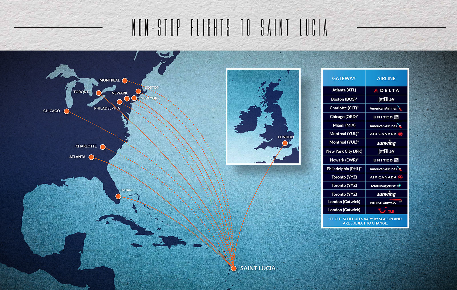 Non Stop Flights Service To Saint Lucia